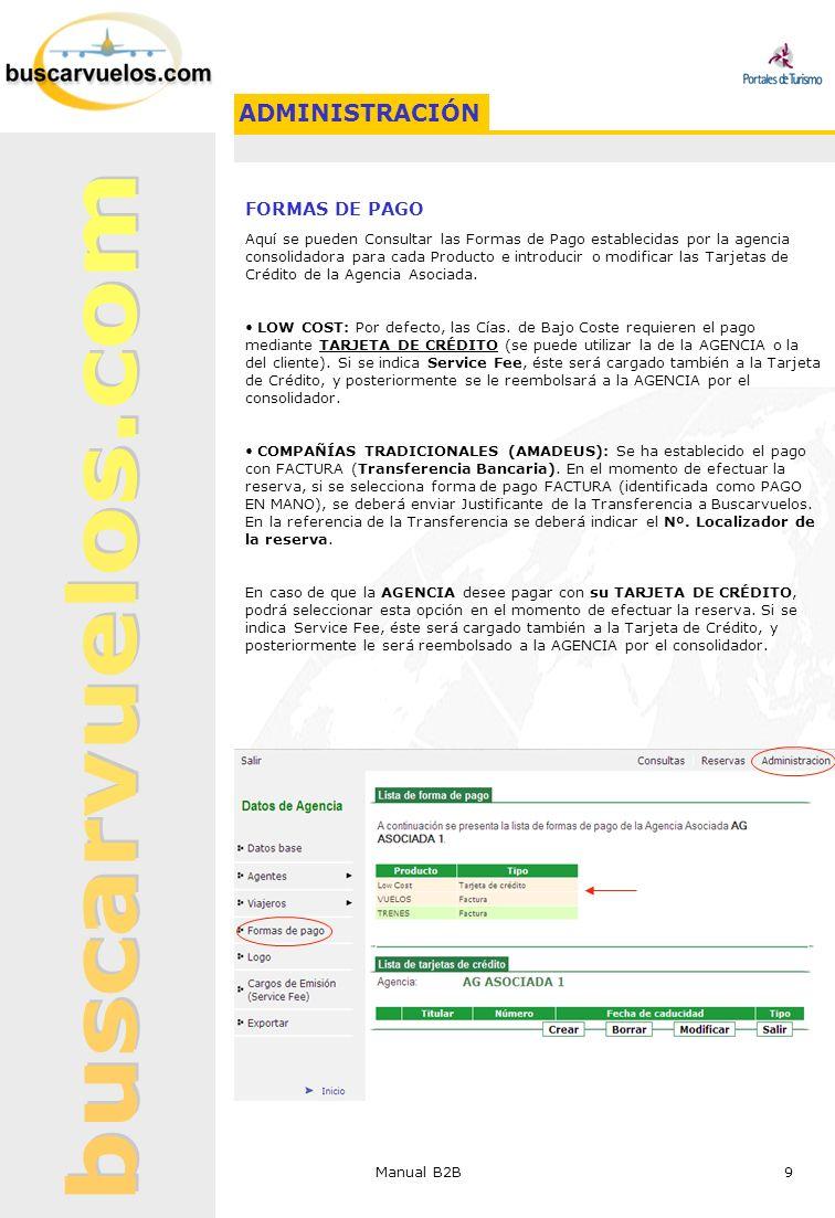 Manual B2B 9 FORMAS DE PAGO Aquí se pueden Consultar las Formas de Pago establecidas por la agencia consolidadora para cada Producto e introducir o mo