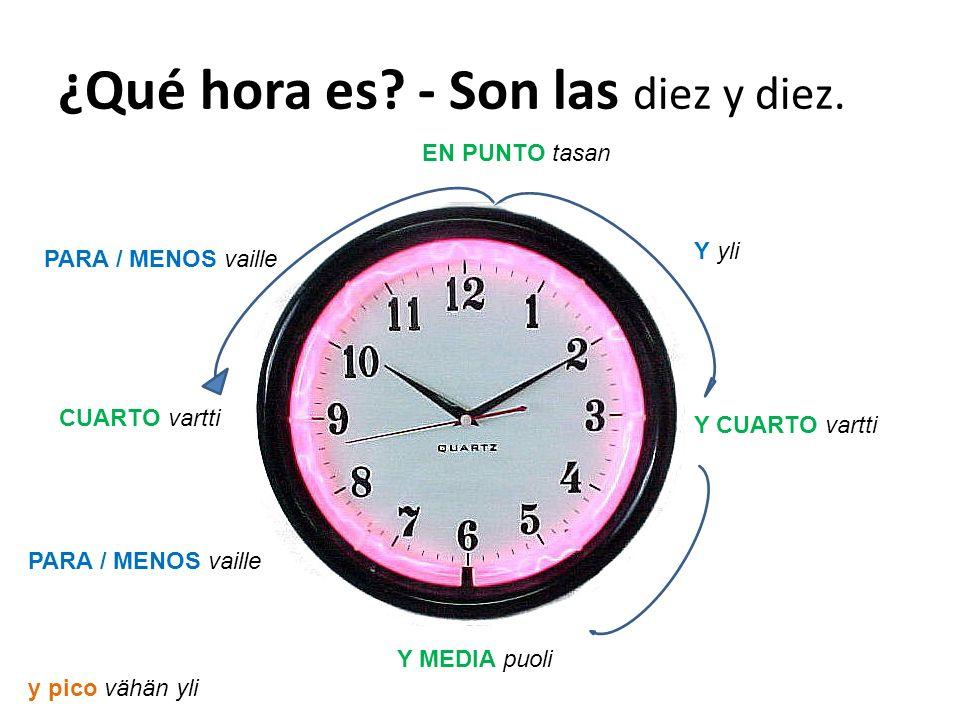 ¿Qué hora es.- Son las diez y diez.