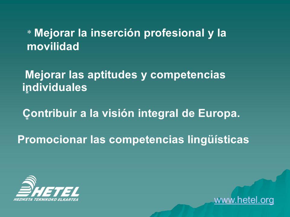 * Mejorar la inserción profesional y la movilidad Mejorar las aptitudes y competencias individuales * Contribuir a la visión integral de Europa. * Pro