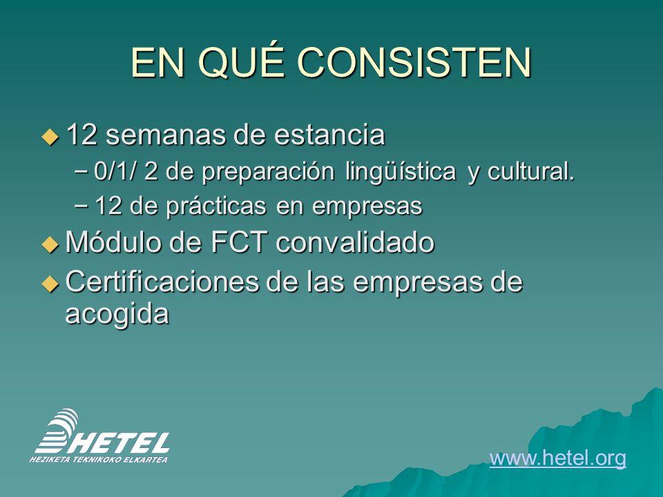 EN QUÉ CONSISTEN 12 semanas de estancia 12 semanas de estancia – 0/1/ 2 de preparación lingüística y cultural. – 12 de prácticas en empresas Módulo de