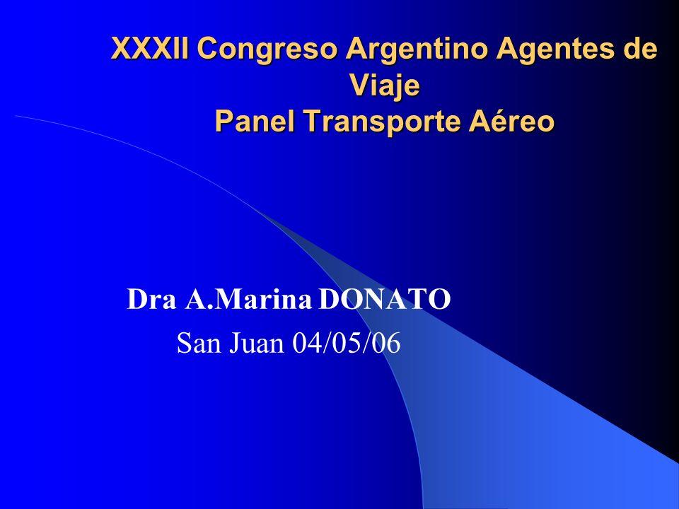 XXXII Congreso Argentino Agentes de Viaje Panel Transporte Aéreo Dra A.Marina DONATO San Juan 04/05/06