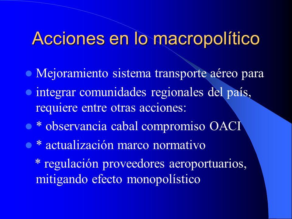 Acciones en lo macropolítico Mejoramiento sistema transporte aéreo para integrar comunidades regionales del país, requiere entre otras acciones: * obs