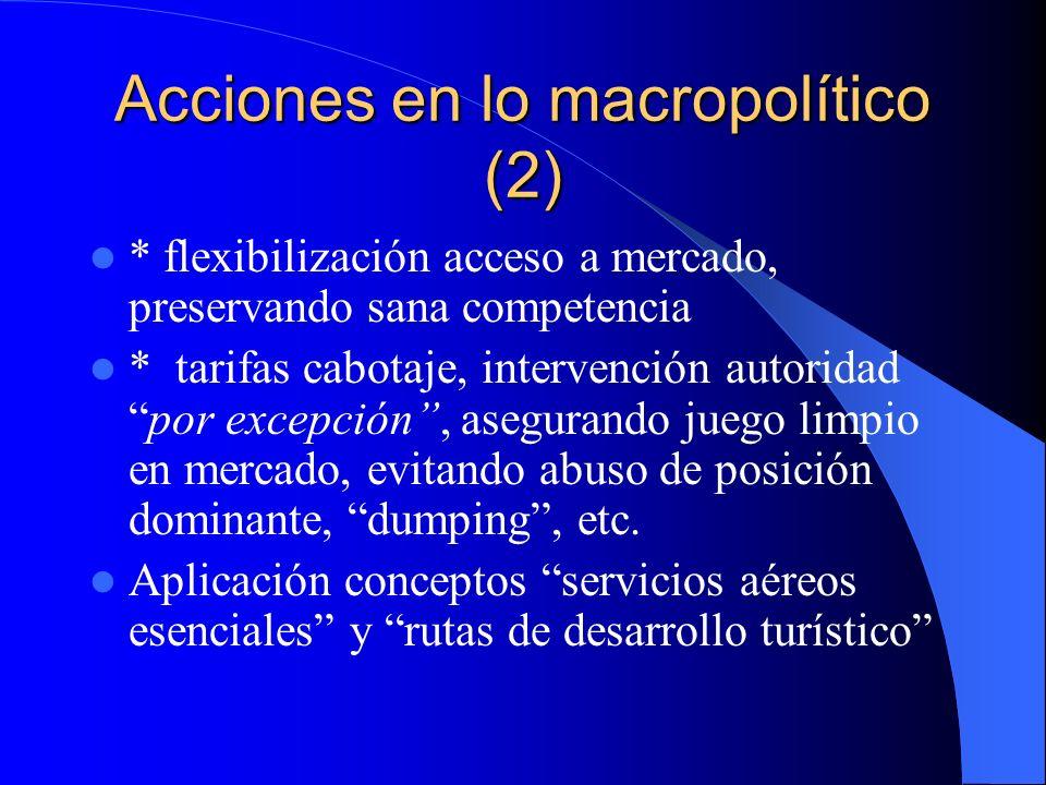 Acciones en lo macropolítico (2) * flexibilización acceso a mercado, preservando sana competencia * tarifas cabotaje, intervención autoridadpor excepc