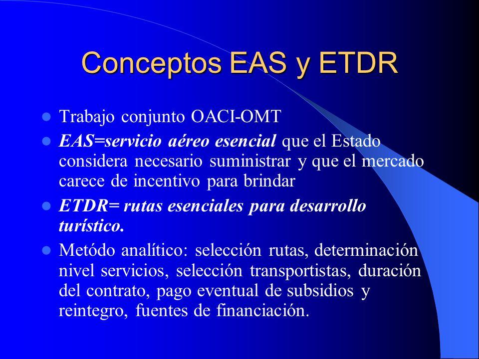 Conceptos EAS y ETDR Trabajo conjunto OACI-OMT EAS=servicio aéreo esencial que el Estado considera necesario suministrar y que el mercado carece de in