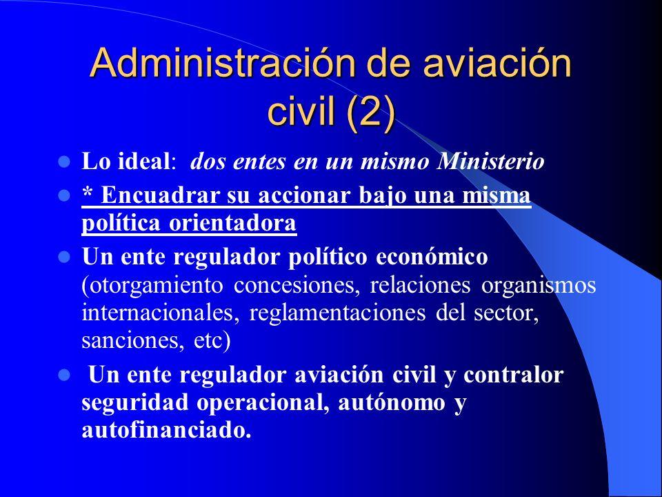 Administración de aviación civil (2) Lo ideal: dos entes en un mismo Ministerio * Encuadrar su accionar bajo una misma política orientadora Un ente re