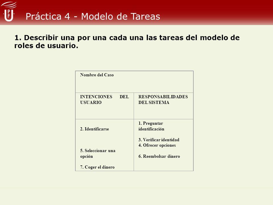 Práctica 4 - Modelo de Tareas Nombre del Caso INTENCIONES DEL USUARIO RESPONSABILIDADES DEL SISTEMA 2. Identificarse 5. Seleccionar una opción 7. Coge