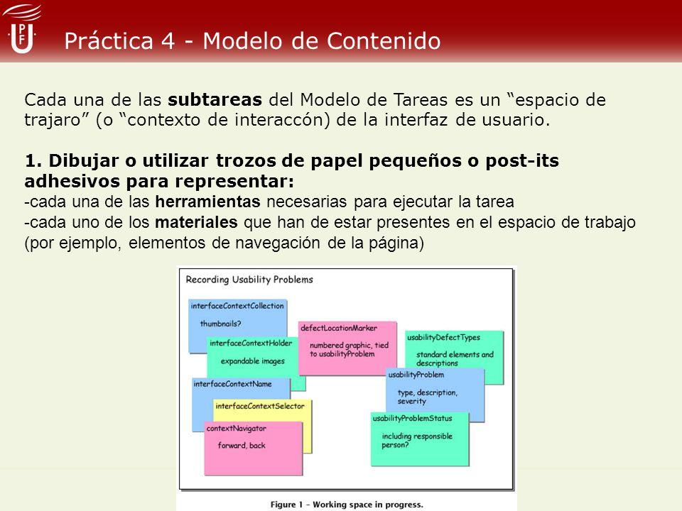 Práctica 4 - Modelo de Contenido Cada una de las subtareas del Modelo de Tareas es un espacio de trajaro (o contexto de interaccón) de la interfaz de