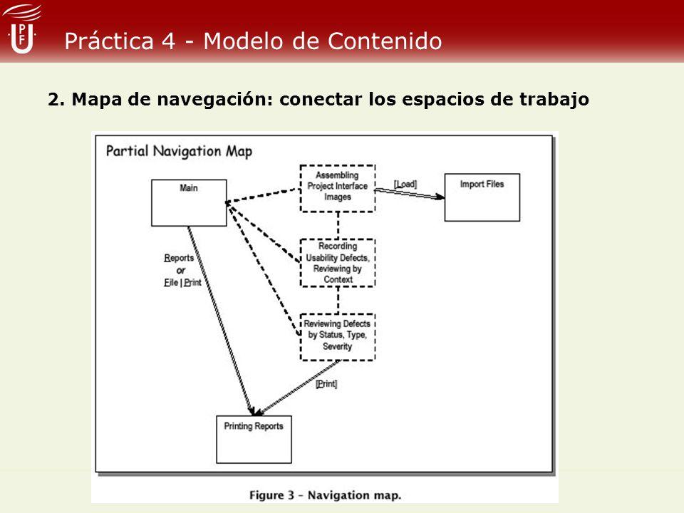 Práctica 4 - Modelo de Contenido 2. Mapa de navegación: conectar los espacios de trabajo