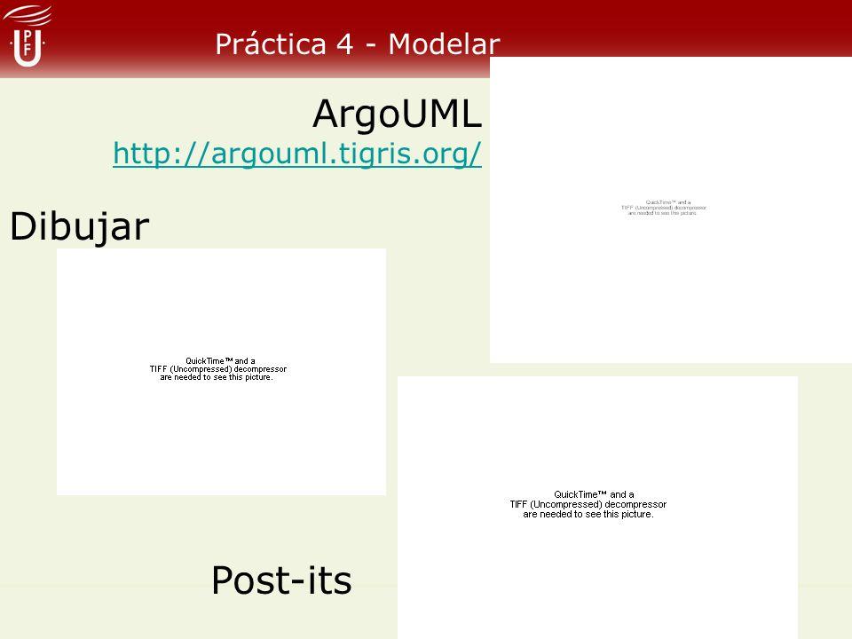 Práctica 4 - Modelar ArgoUML http://argouml.tigris.org/ Dibujar Post-its