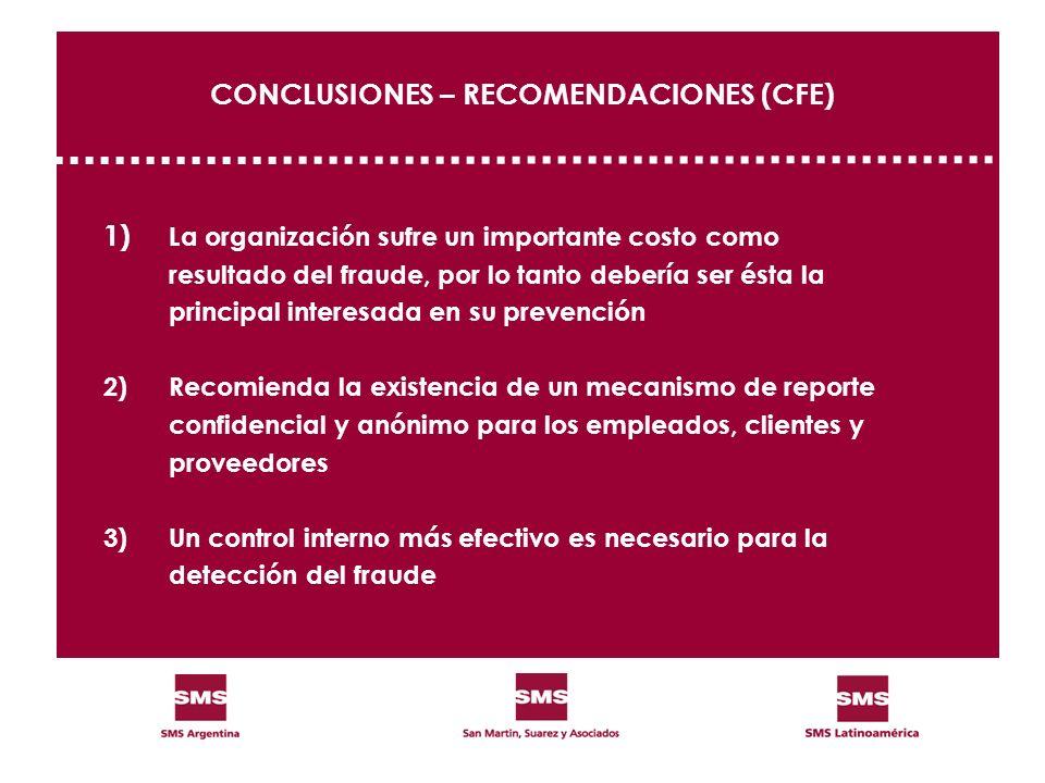 CONCLUSIONES – RECOMENDACIONES (CFE) 1) La organización sufre un importante costo como resultado del fraude, por lo tanto debería ser ésta la principa