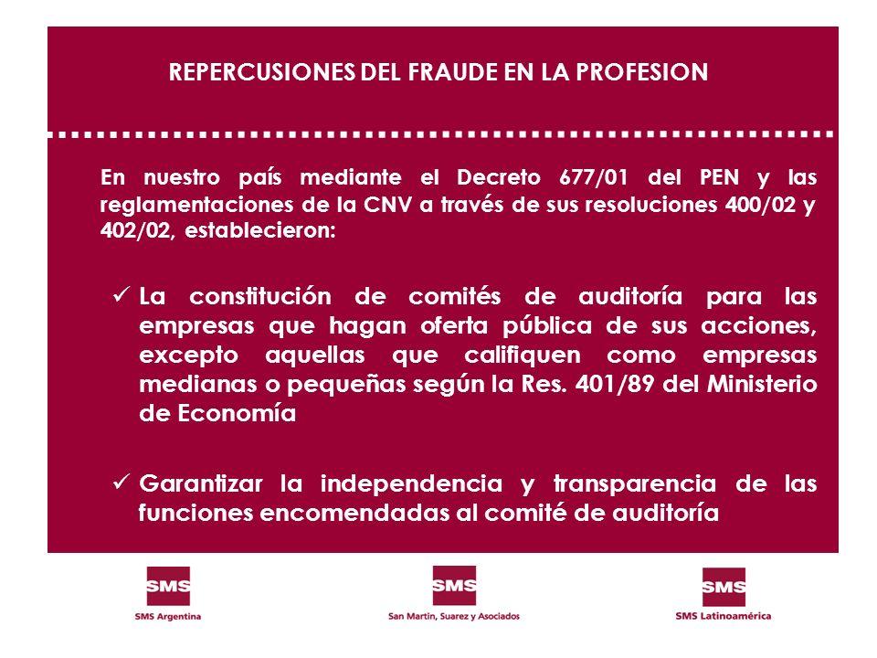 REPERCUSIONES DEL FRAUDE EN LA PROFESION En nuestro país mediante el Decreto 677/01 del PEN y las reglamentaciones de la CNV a través de sus resolucio