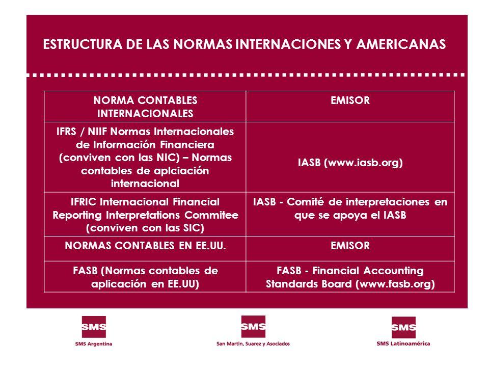 ESTRUCTURA DE LAS NORMAS INTERNACIONES Y AMERICANAS NORMA CONTABLES INTERNACIONALES EMISOR IFRS / NIIF Normas Internacionales de Información Financier