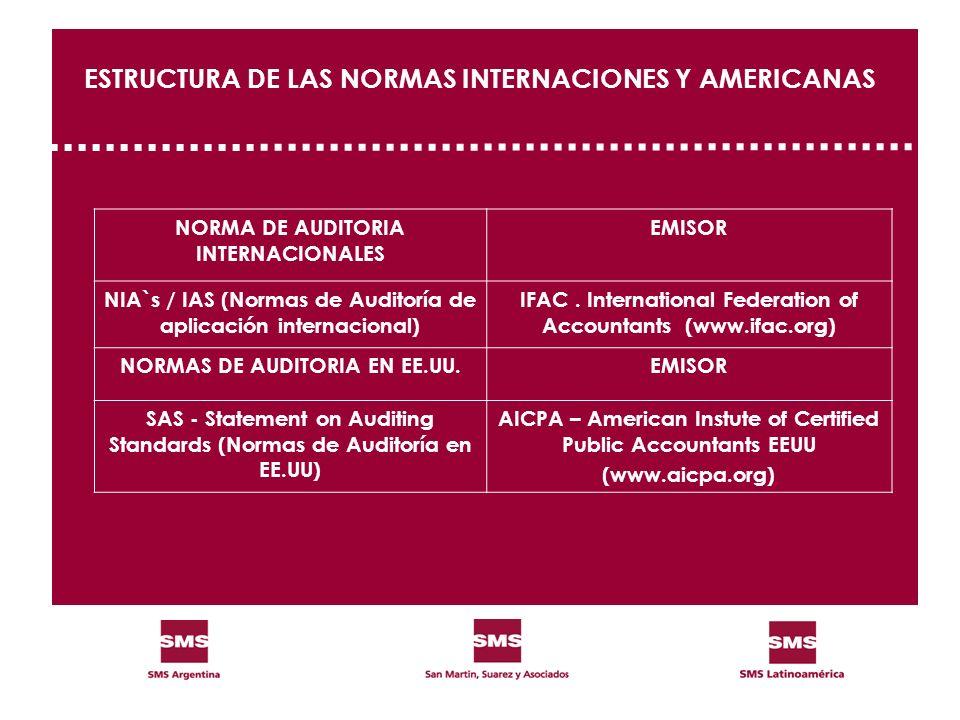 ESTRUCTURA DE LAS NORMAS INTERNACIONES Y AMERICANAS NORMA DE AUDITORIA INTERNACIONALES EMISOR NIA`s / IAS (Normas de Auditoría de aplicación internaci