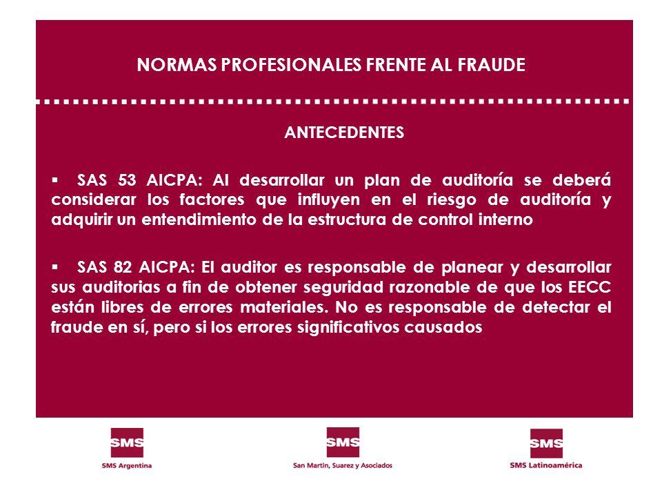 NORMAS PROFESIONALES FRENTE AL FRAUDE ANTECEDENTES SAS 53 AICPA: Al desarrollar un plan de auditoría se deberá considerar los factores que influyen en