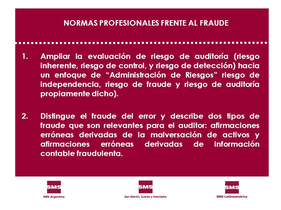 NORMAS PROFESIONALES FRENTE AL FRAUDE 1.Ampliar la evaluación de riesgo de auditoría (riesgo inherente, riesgo de control, y riesgo de detección) haci