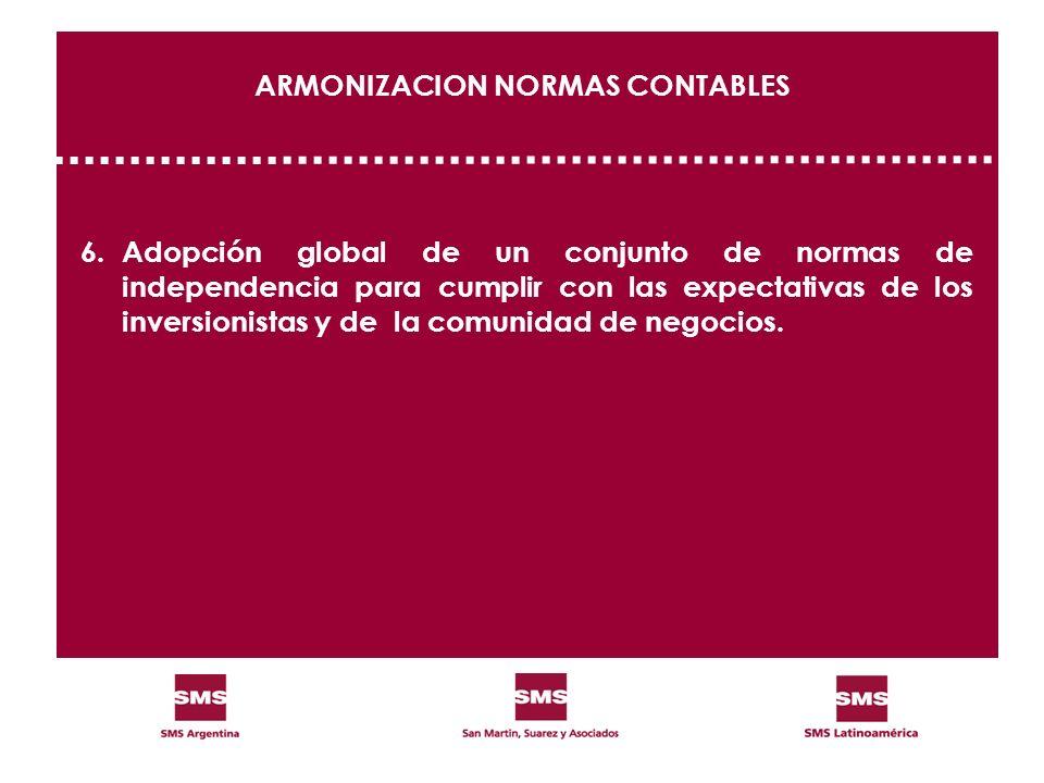 ARMONIZACION NORMAS CONTABLES 6.Adopción global de un conjunto de normas de independencia para cumplir con las expectativas de los inversionistas y de