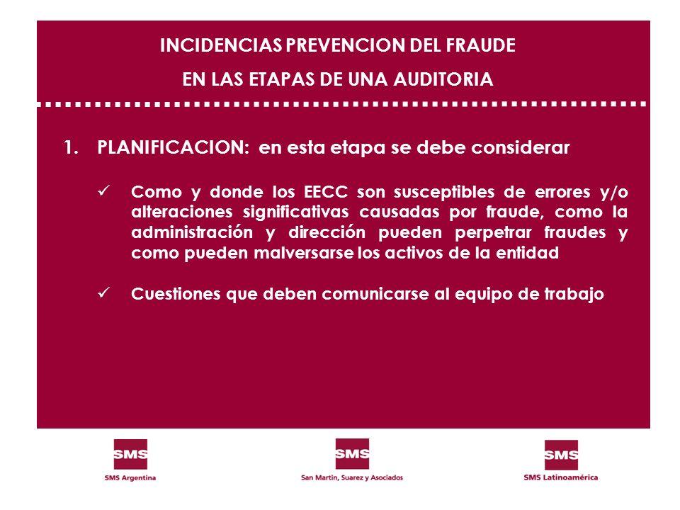 1.PLANIFICACION: en esta etapa se debe considerar Como y donde los EECC son susceptibles de errores y/o alteraciones significativas causadas por fraud