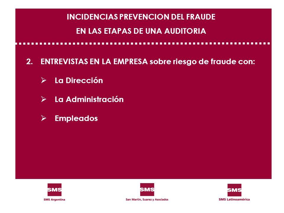 2.ENTREVISTAS EN LA EMPRESA sobre riesgo de fraude con: La Dirección La Administración Empleados INCIDENCIAS PREVENCION DEL FRAUDE EN LAS ETAPAS DE UN