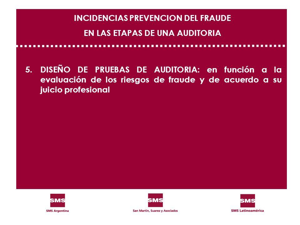 5.DISEÑO DE PRUEBAS DE AUDITORIA: en función a la evaluación de los riesgos de fraude y de acuerdo a su juicio profesional INCIDENCIAS PREVENCION DEL