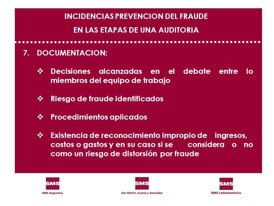 7.DOCUMENTACION: Decisiones alcanzadas en el debate entre lo miembros del equipo de trabajo Riesgo de fraude identificados Procedimientos aplicados Ex