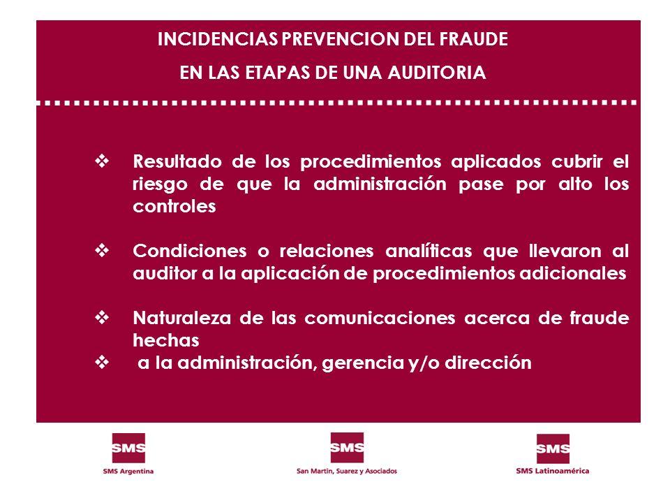 Resultado de los procedimientos aplicados cubrir el riesgo de que la administración pase por alto los controles Condiciones o relaciones analíticas qu