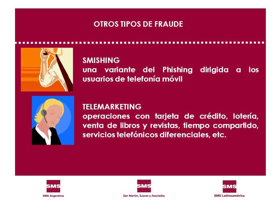 SMISHING una variante del Phishing dirigida a los usuarios de telefonía móvil TELEMARKETING operaciones con tarjeta de crédito, lotería, venta de libr