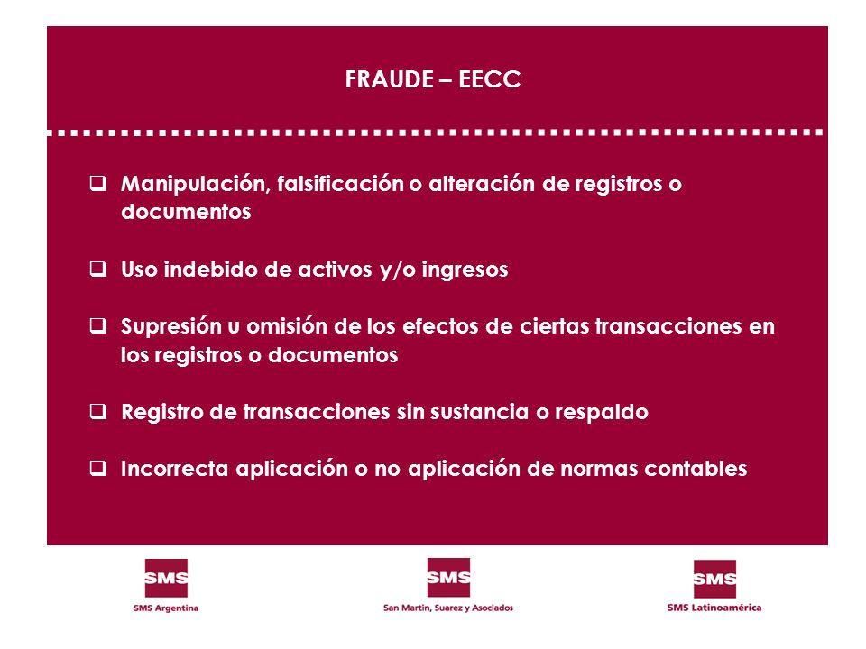 FRAUDE – EECC Manipulación, falsificación o alteración de registros o documentos Uso indebido de activos y/o ingresos Supresión u omisión de los efect