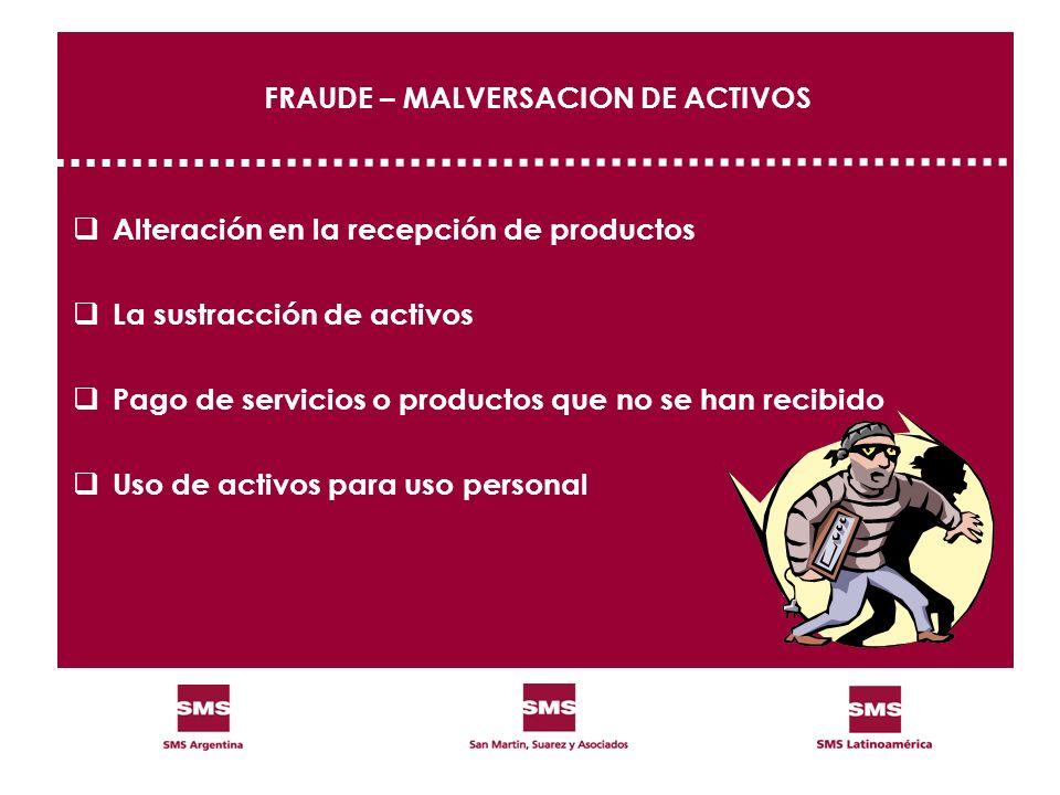 FRAUDE – MALVERSACION DE ACTIVOS Alteración en la recepción de productos La sustracción de activos Pago de servicios o productos que no se han recibid