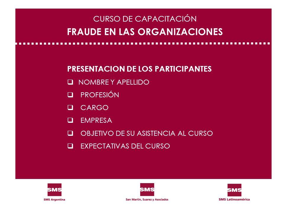 PRESENTACION DE LOS PARTICIPANTES NOMBRE Y APELLIDO PROFESIÓN CARGO EMPRESA OBJETIVO DE SU ASISTENCIA AL CURSO EXPECTATIVAS DEL CURSO CURSO DE CAPACIT