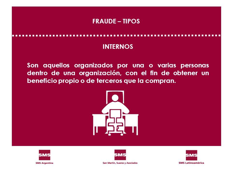 FRAUDE – TIPOS INTERNOS Son aquellos organizados por una o varias personas dentro de una organización, con el fin de obtener un beneficio propio o de