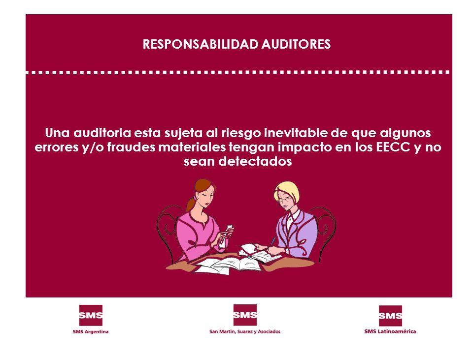 RESPONSABILIDAD AUDITORES Una auditoria esta sujeta al riesgo inevitable de que algunos errores y/o fraudes materiales tengan impacto en los EECC y no