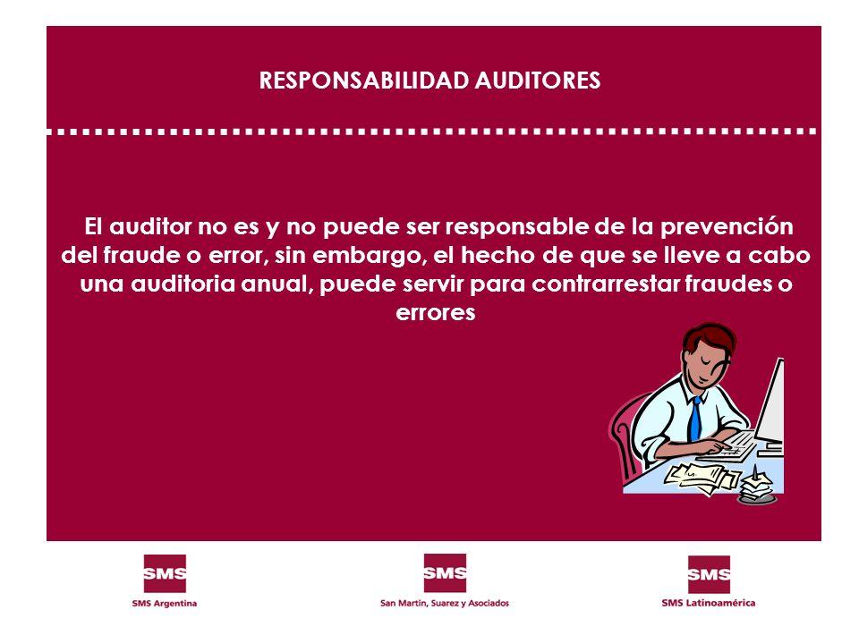 RESPONSABILIDAD AUDITORES El auditor no es y no puede ser responsable de la prevención del fraude o error, sin embargo, el hecho de que se lleve a cab