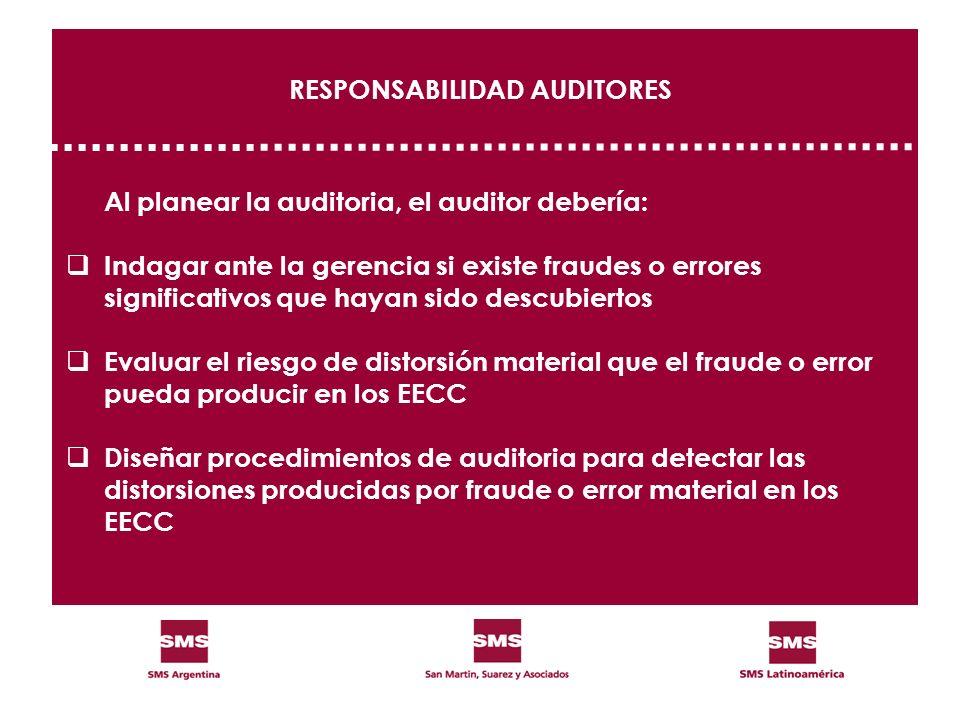 RESPONSABILIDAD AUDITORES Al planear la auditoria, el auditor debería: Indagar ante la gerencia si existe fraudes o errores significativos que hayan s