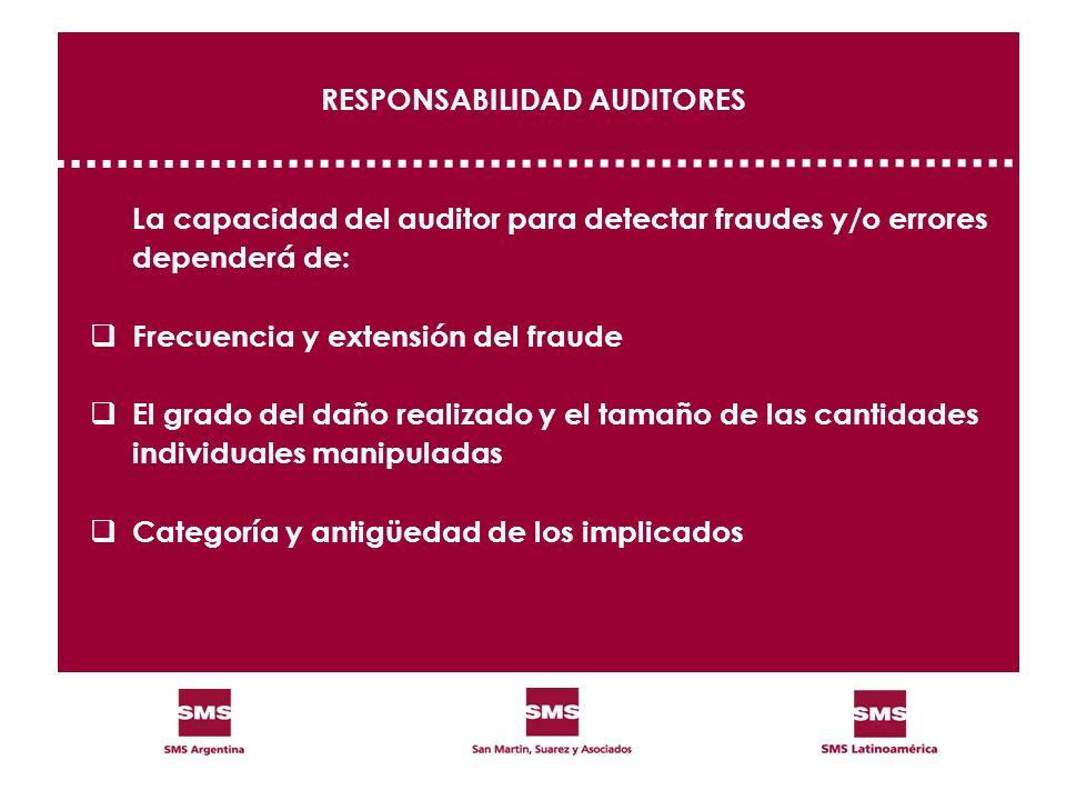 RESPONSABILIDAD AUDITORES La capacidad del auditor para detectar fraudes y/o errores dependerá de: Frecuencia y extensión del fraude El grado del daño