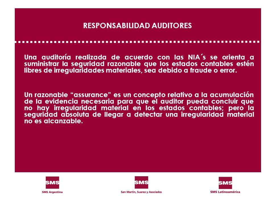 RESPONSABILIDAD AUDITORES Una auditoría realizada de acuerdo con las NIA´s se orienta a suministrar la seguridad razonable que los estados contables e