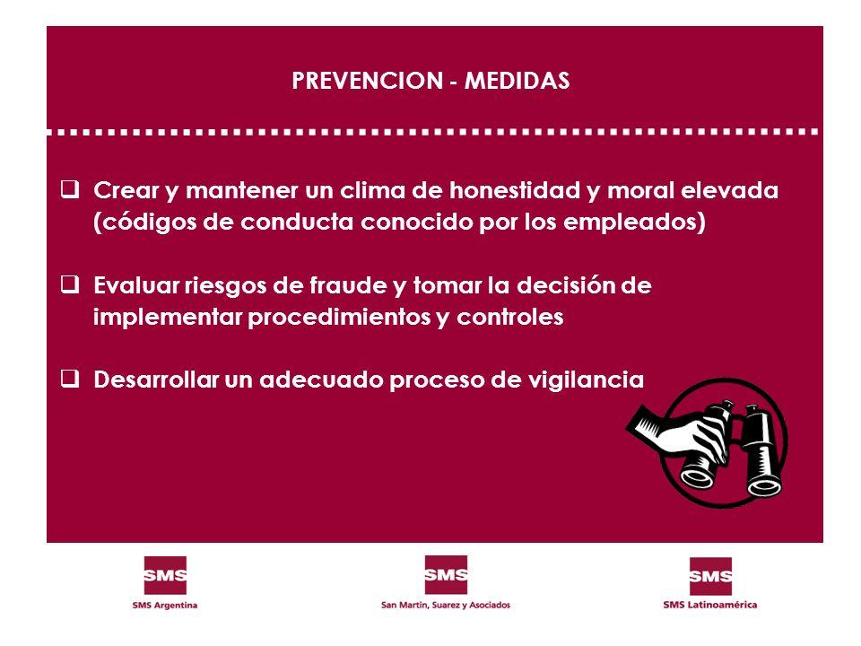 PREVENCION - MEDIDAS Crear y mantener un clima de honestidad y moral elevada (códigos de conducta conocido por los empleados) Evaluar riesgos de fraud