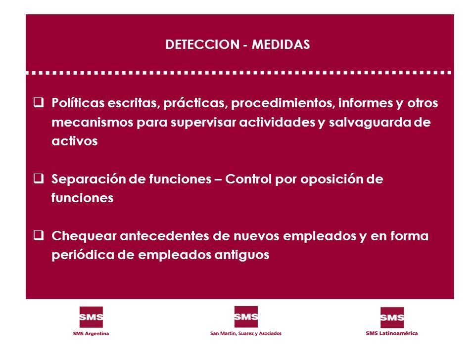 DETECCION - MEDIDAS Políticas escritas, prácticas, procedimientos, informes y otros mecanismos para supervisar actividades y salvaguarda de activos Se