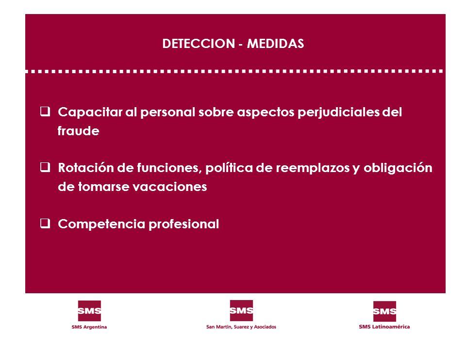 DETECCION - MEDIDAS Capacitar al personal sobre aspectos perjudiciales del fraude Rotación de funciones, política de reemplazos y obligación de tomars