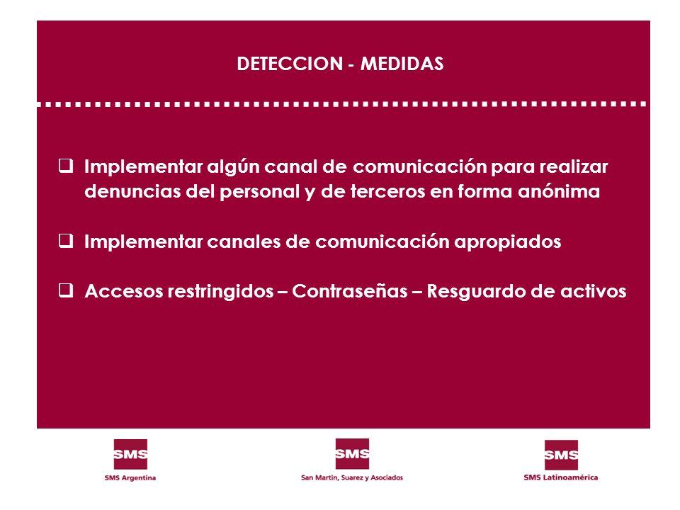 DETECCION - MEDIDAS Implementar algún canal de comunicación para realizar denuncias del personal y de terceros en forma anónima Implementar canales de