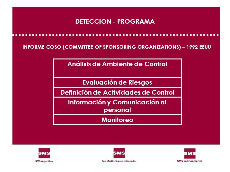 DETECCION - PROGRAMA INFORME COSO (COMMITTEE OF SPONSORING ORGANIZATIONS) – 1992 EEUU Análisis de Ambiente de Control Evaluación de Riesgos Definición