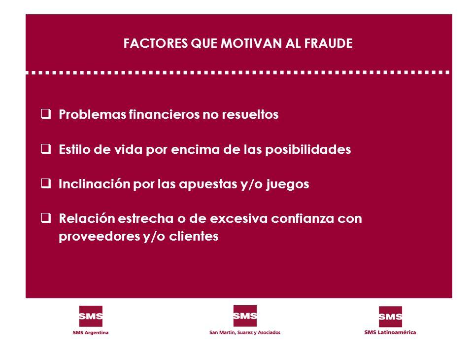 FACTORES QUE MOTIVAN AL FRAUDE Problemas financieros no resueltos Estilo de vida por encima de las posibilidades Inclinación por las apuestas y/o jueg