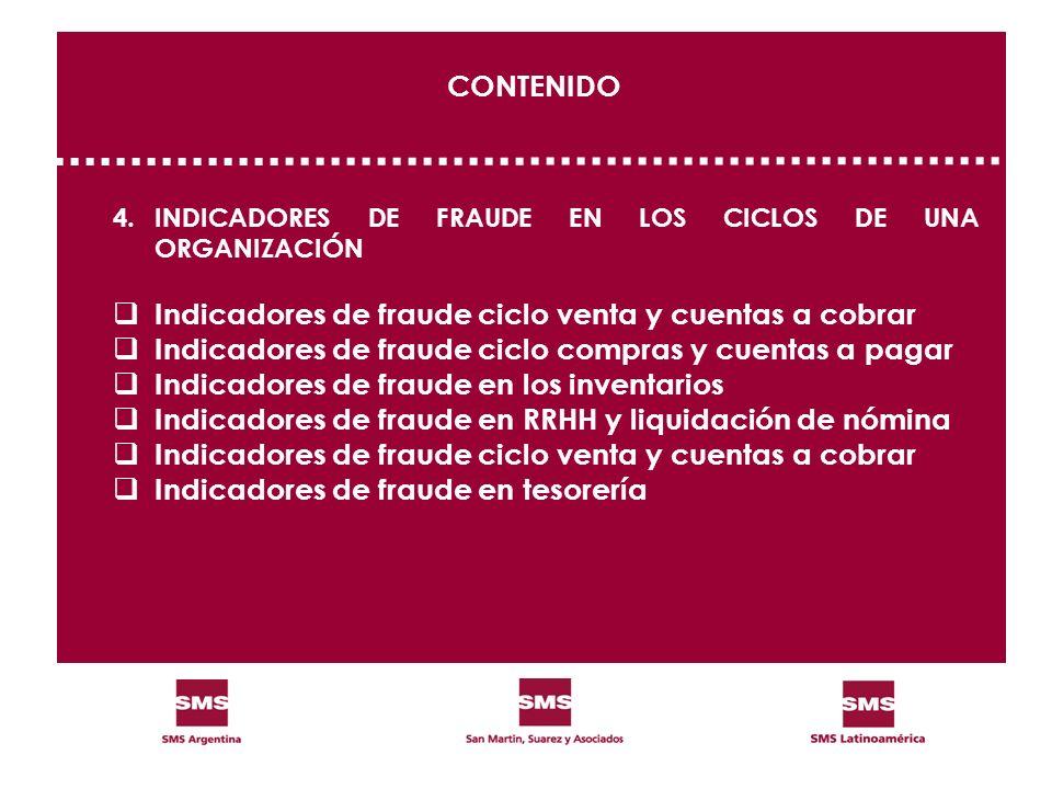 CONTENIDO 4.INDICADORES DE FRAUDE EN LOS CICLOS DE UNA ORGANIZACIÓN Indicadores de fraude ciclo venta y cuentas a cobrar Indicadores de fraude ciclo c