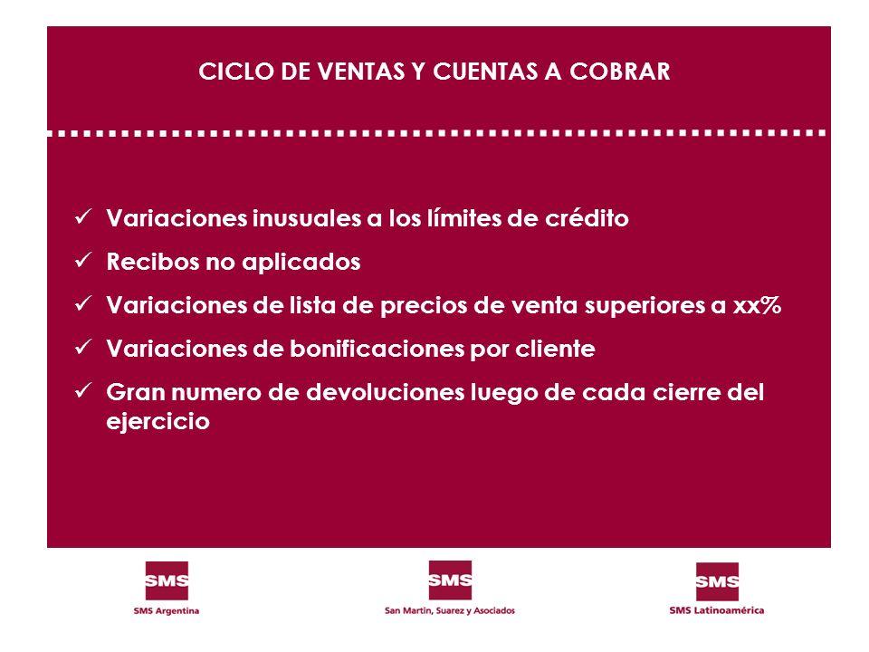 CICLO DE VENTAS Y CUENTAS A COBRAR Variaciones inusuales a los límites de crédito Recibos no aplicados Variaciones de lista de precios de venta superi