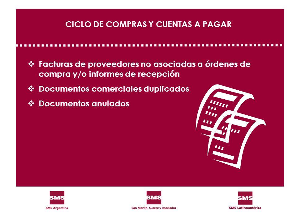 CICLO DE COMPRAS Y CUENTAS A PAGAR Facturas de proveedores no asociadas a órdenes de compra y/o informes de recepción Documentos comerciales duplicado