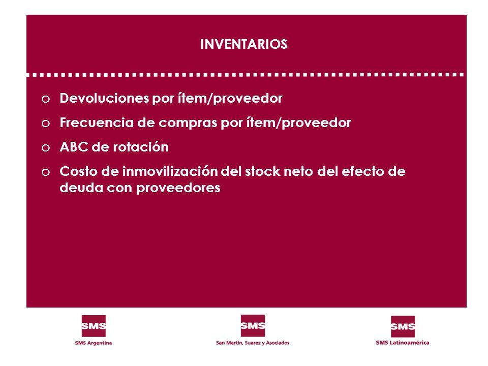 INVENTARIOS o Devoluciones por ítem/proveedor o Frecuencia de compras por ítem/proveedor o ABC de rotación o Costo de inmovilización del stock neto de