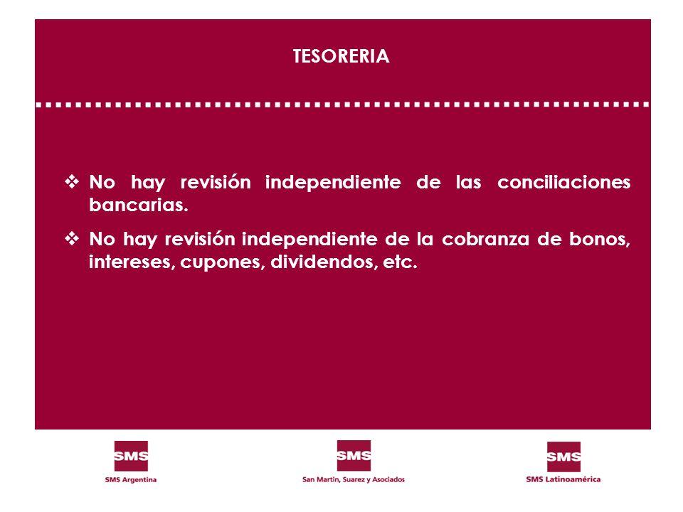 TESORERIA No hay revisión independiente de las conciliaciones bancarias. No hay revisión independiente de la cobranza de bonos, intereses, cupones, di