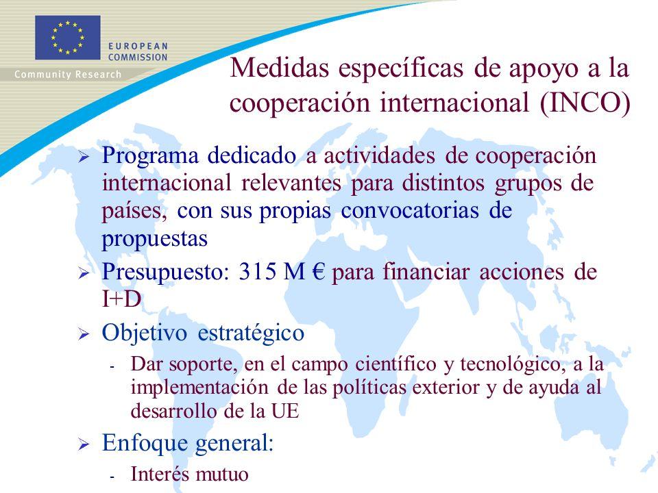 Medidas específicas de apoyo a la cooperación internacional (INCO) Programa dedicado a actividades de cooperación internacional relevantes para distintos grupos de países, con sus propias convocatorias de propuestas Presupuesto: 315 M para financiar acciones de I+D Objetivo estratégico - Dar soporte, en el campo científico y tecnológico, a la implementación de las políticas exterior y de ayuda al desarrollo de la UE Enfoque general: - Interés mutuo