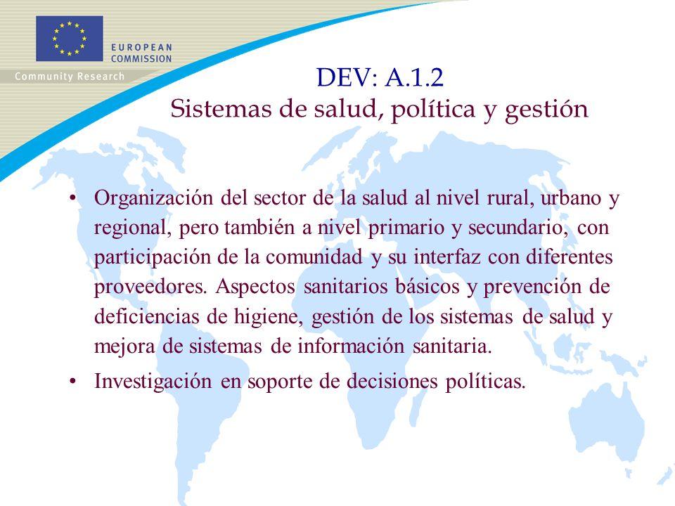 DEV: A.1.2 Sistemas de salud, política y gestión Organización del sector de la salud al nivel rural, urbano y regional, pero también a nivel primario y secundario, con participación de la comunidad y su interfaz con diferentes proveedores.