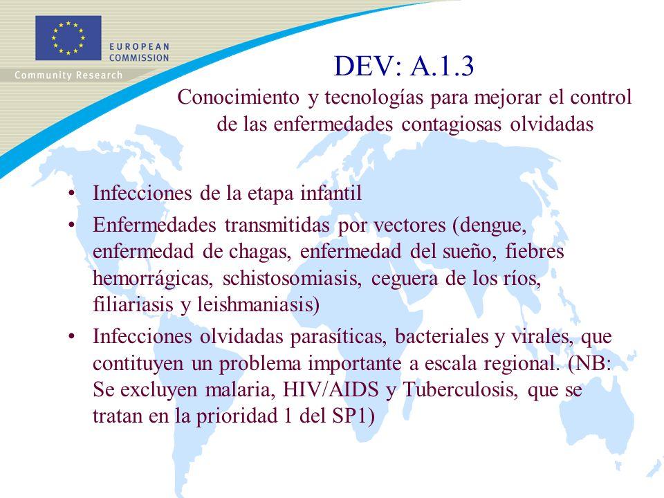 DEV: A.1.3 Conocimiento y tecnologías para mejorar el control de las enfermedades contagiosas olvidadas Infecciones de la etapa infantil Enfermedades transmitidas por vectores (dengue, enfermedad de chagas, enfermedad del sueño, fiebres hemorrágicas, schistosomiasis, ceguera de los ríos, filiariasis y leishmaniasis) Infecciones olvidadas parasíticas, bacteriales y virales, que contituyen un problema importante a escala regional.
