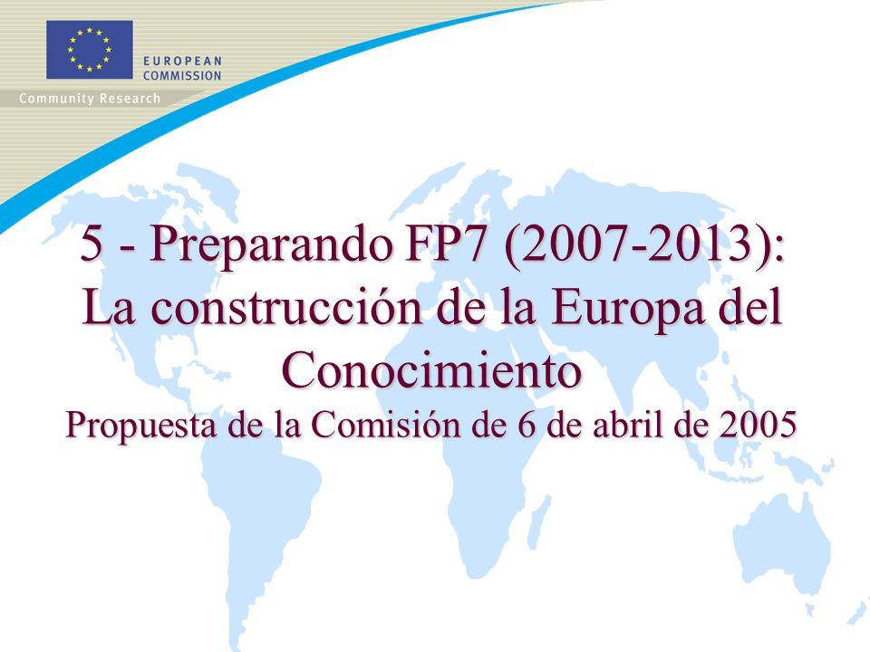5 - Preparando FP7 (2007-2013): La construcción de la Europa del Conocimiento Propuesta de la Comisión de 6 de abril de 2005